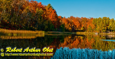 Blue skies and autumn reflections over Mueller Lake near Polar Wisconsin (USA WI Polar; Obst FAV Photos 2012 Nikon D300s Image 3677)