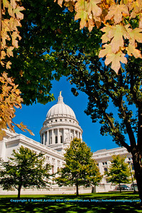 Autumn foliage and clear blue skies frame the State of Wisconsin Capitol in resplendent glory (USA WI Madison; RAO 2012 Nikon D300s Image 3508)