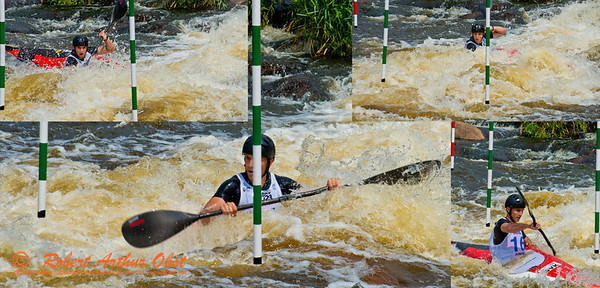 Photo collage of World Championships Bronze Medalist Kayak men Junior Jakub GRIGAR of Slovakia negotiating gate 10 during the finals of the 2012 ICF Canoe Slalom Junior and U23 World Championships (USA WI Wausau)