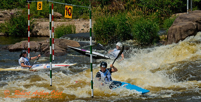 World Championships Bronze Medalists Kayak team women under 23 81A Lucie BAUDU and 81B Estelle MANGIN and 81C Nouria NEWMAN of France negotiating gates 9 and 10 during the finals of the 2012 ICF Canoe Slalom Junior and U23 World Championships (USA WI Wausau)