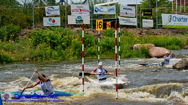 World Championships Silver Medalists Canoe Solo Men Team Juniors Samuel IBBOTSON and Thomas ABBOTT and Andrew HOUSTON of Great Britain negotiating gates 15 through 16 during the finals of the 2012 ICF Canoe Slalom Junior and U23 World Championships (USA WI Wausau)